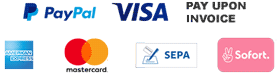 Secure Payment with Paypal, Credit Card, SEPA Direct Debit, Pay upon Invoice or Sofort by Klarna