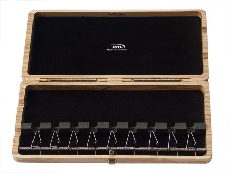 Wooden bassoon reed case, 9 reeds