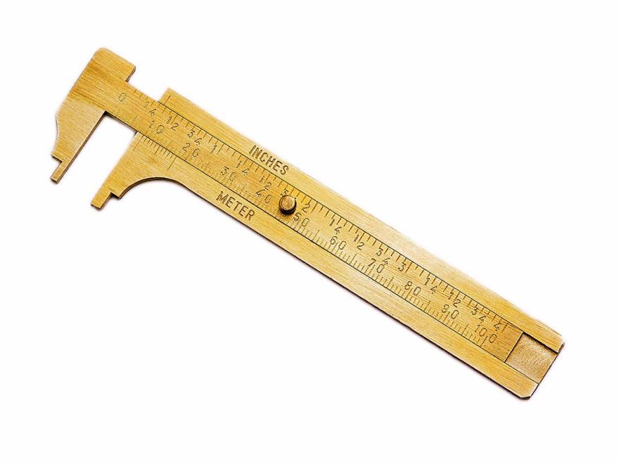 Knopfschieblehre: Messing, 100 mm